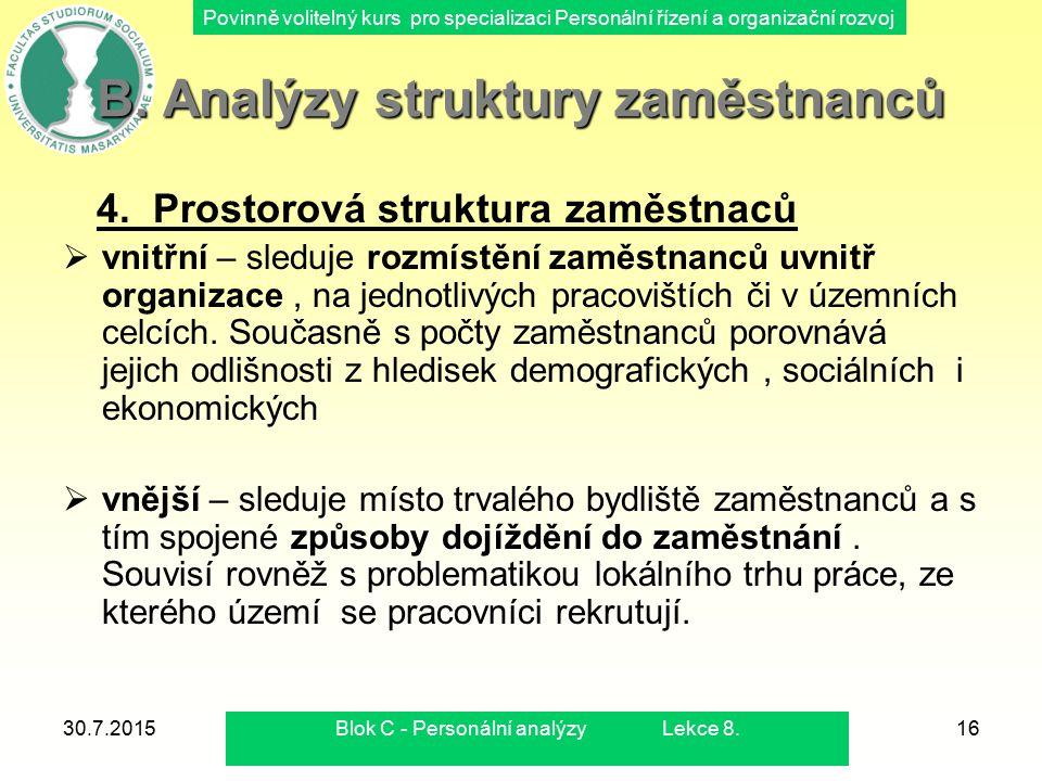 B. Analýzy struktury zaměstnanců