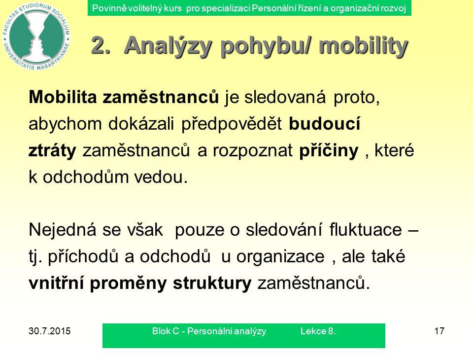 2. Analýzy pohybu/ mobility