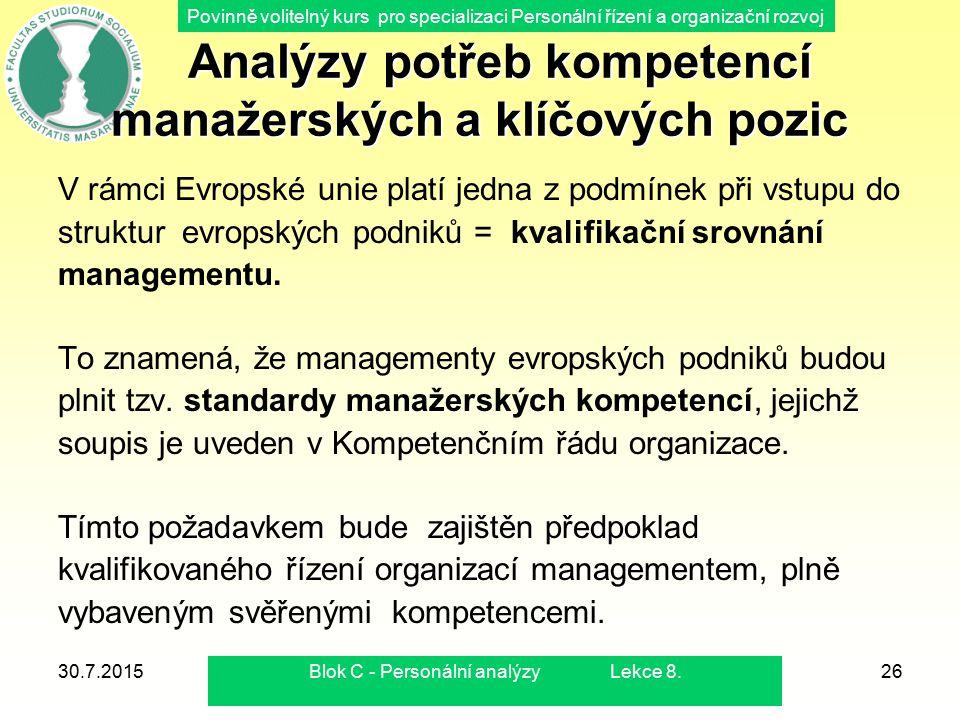 Analýzy potřeb kompetencí manažerských a klíčových pozic