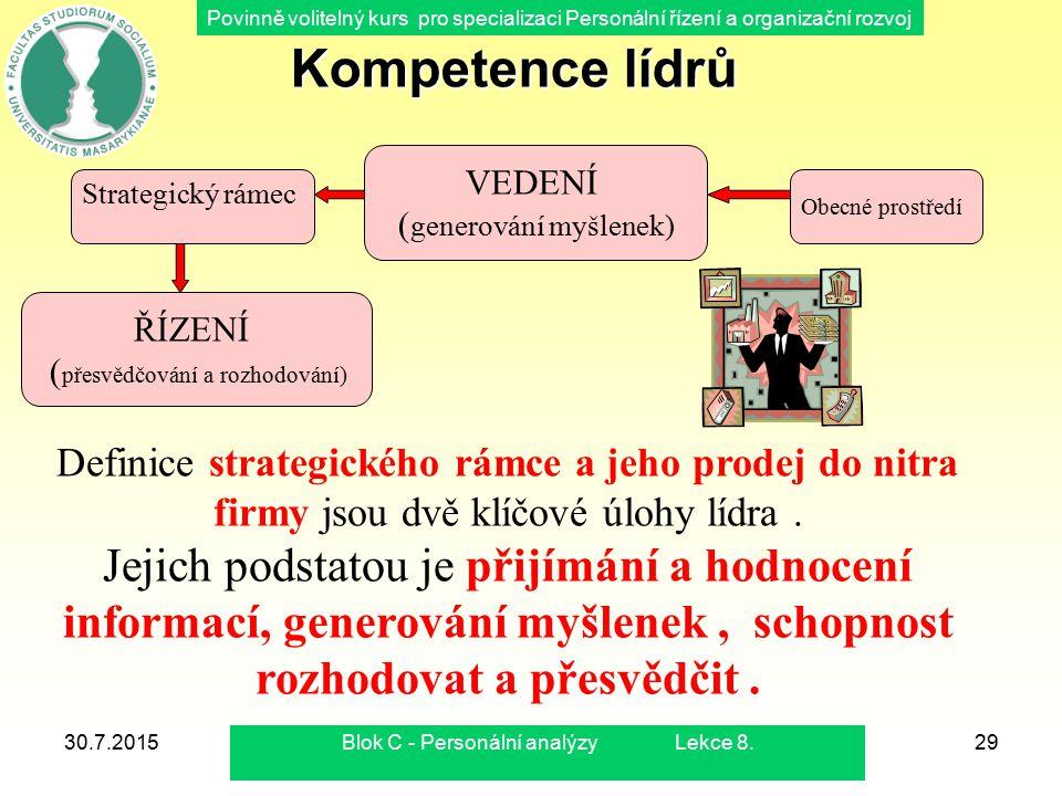 Kompetence lídrů VEDENÍ. (generování myšlenek) Strategický rámec. Obecné prostředí. ŘÍZENÍ. (přesvědčování a rozhodování)