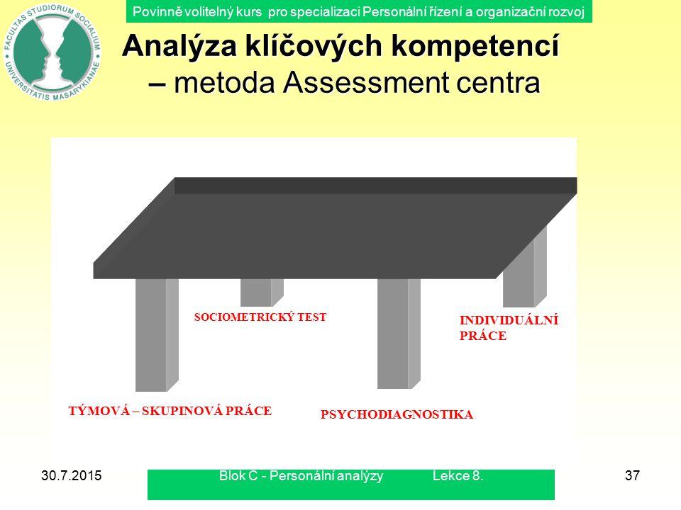 Analýza klíčových kompetencí – metoda Assessment centra