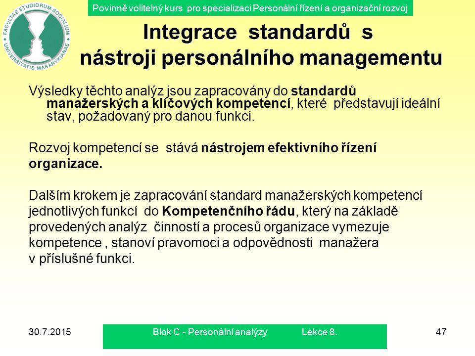 Integrace standardů s nástroji personálního managementu