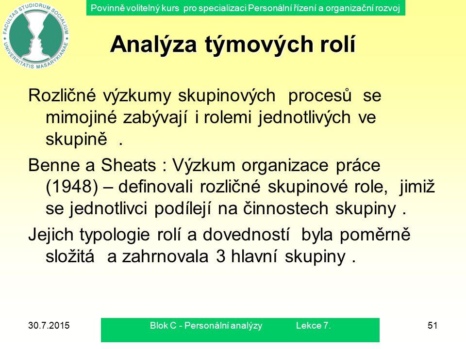 Blok C - Personální analýzy Lekce 7.