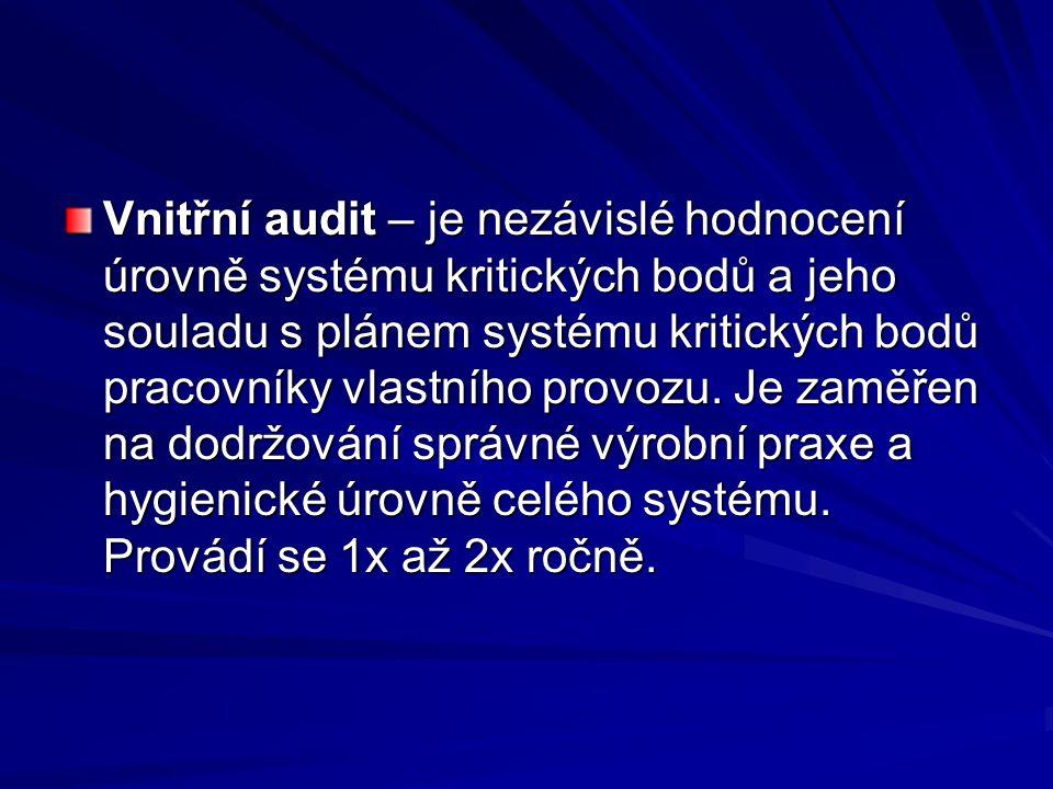 Vnitřní audit – je nezávislé hodnocení úrovně systému kritických bodů a jeho souladu s plánem systému kritických bodů pracovníky vlastního provozu.