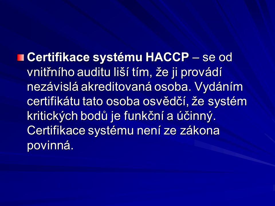 Certifikace systému HACCP – se od vnitřního auditu liší tím, že ji provádí nezávislá akreditovaná osoba.