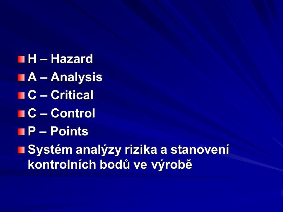 H – Hazard A – Analysis. C – Critical. C – Control.