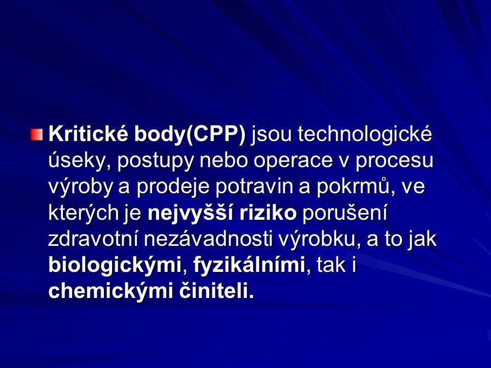 Kritické body(CPP) jsou technologické úseky, postupy nebo operace v procesu výroby a prodeje potravin a pokrmů, ve kterých je nejvyšší riziko porušení zdravotní nezávadnosti výrobku, a to jak biologickými, fyzikálními, tak i chemickými činiteli.
