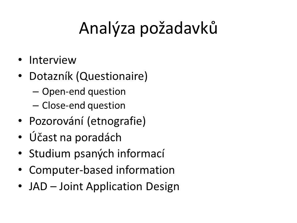 Analýza požadavků Interview Dotazník (Questionaire)