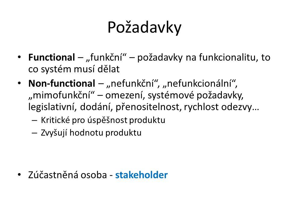 """Požadavky Functional – """"funkční – požadavky na funkcionalitu, to co systém musí dělat."""
