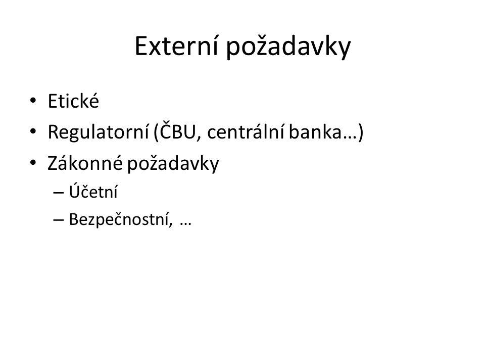 Externí požadavky Etické Regulatorní (ČBU, centrální banka…)