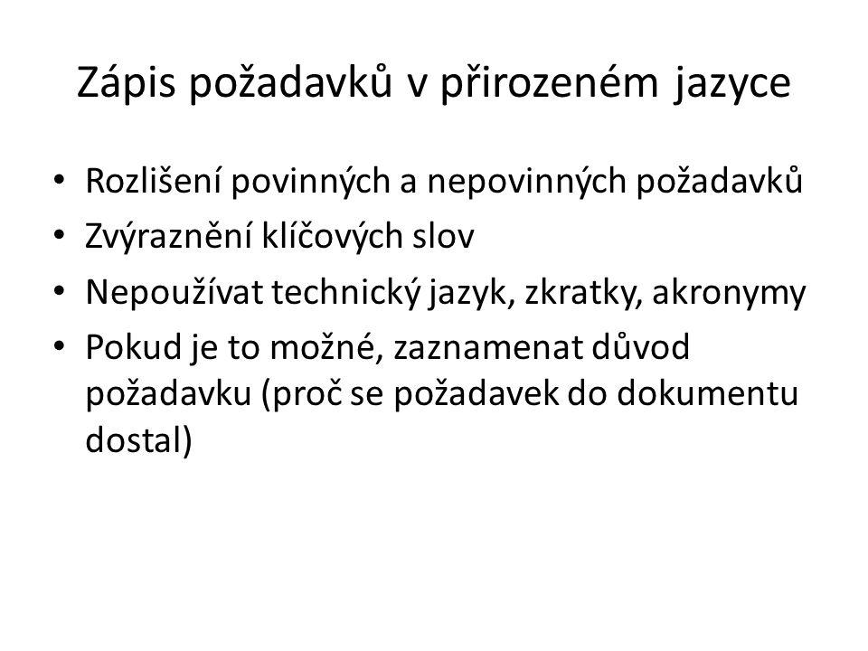 Zápis požadavků v přirozeném jazyce