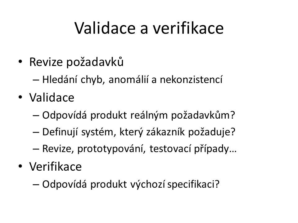 Validace a verifikace Revize požadavků Validace Verifikace