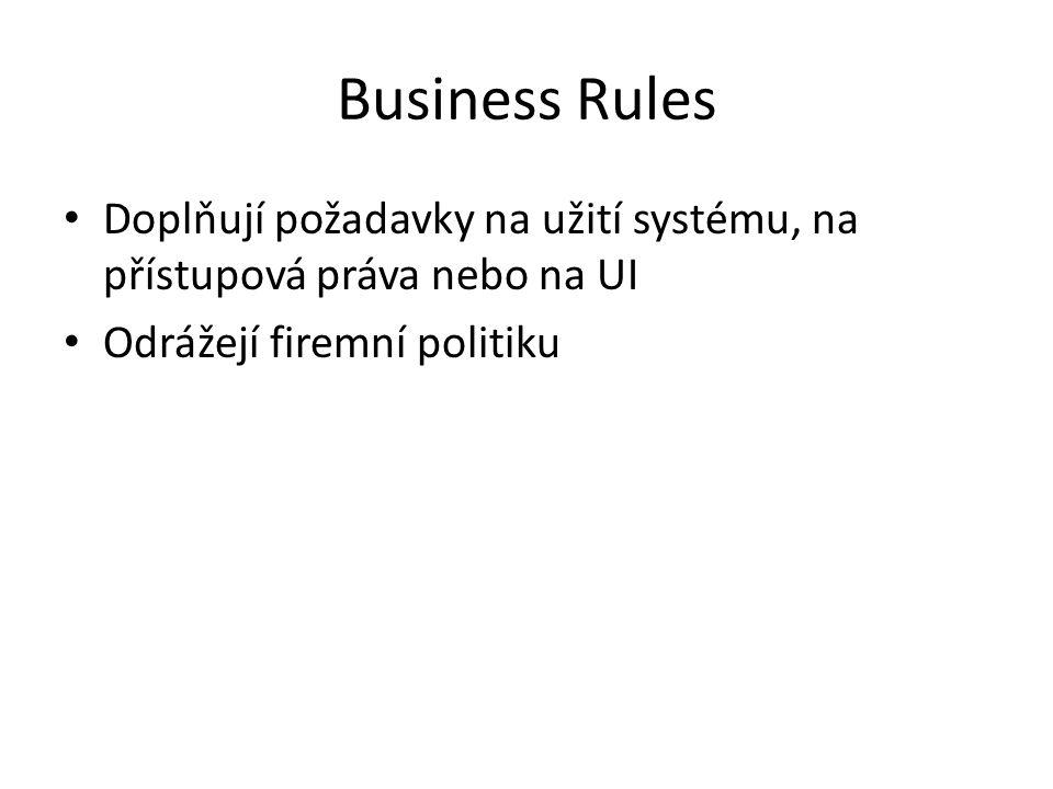 Business Rules Doplňují požadavky na užití systému, na přístupová práva nebo na UI.