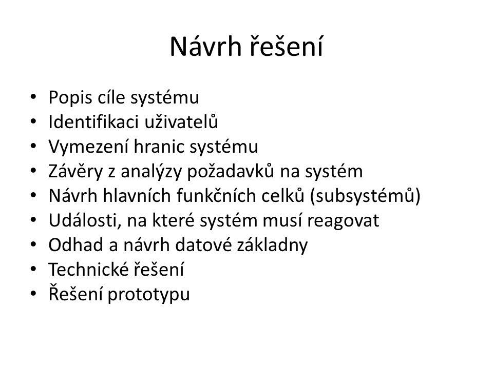 Návrh řešení Popis cíle systému Identifikaci uživatelů