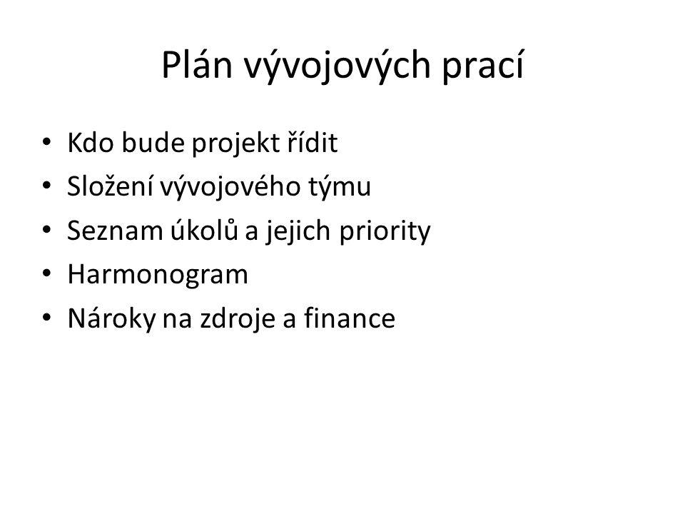 Plán vývojových prací Kdo bude projekt řídit Složení vývojového týmu