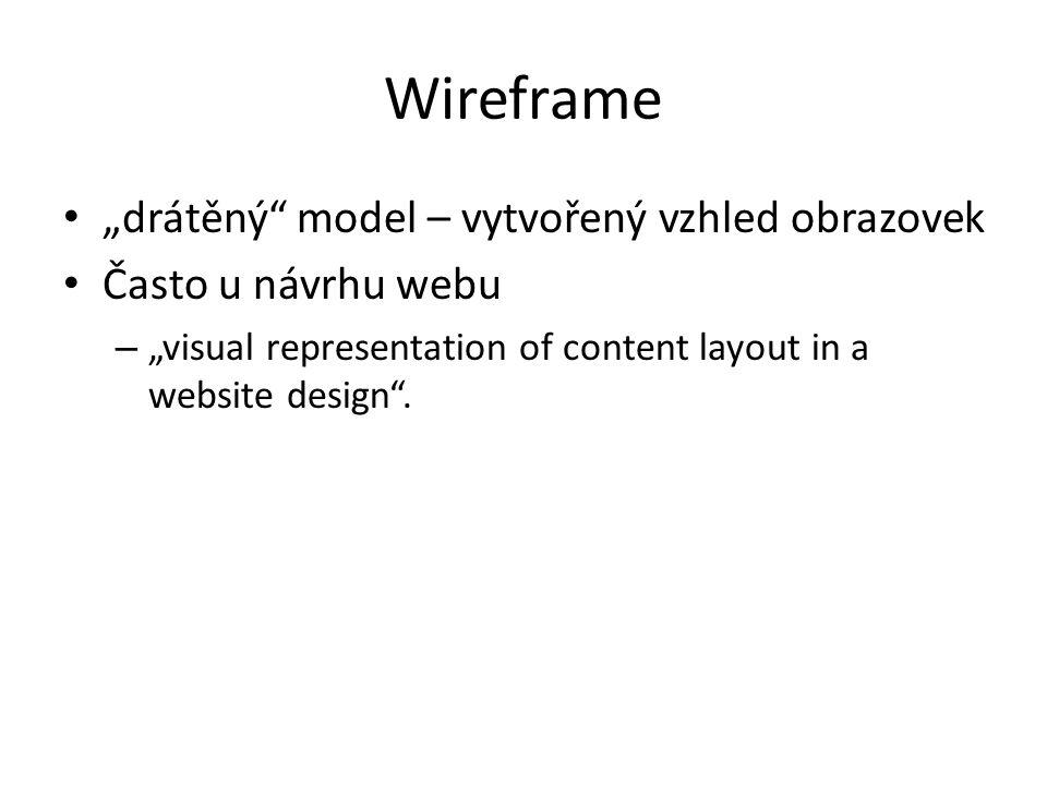 """Wireframe """"drátěný model – vytvořený vzhled obrazovek"""