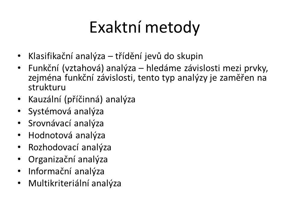 Exaktní metody Klasifikační analýza – třídění jevů do skupin