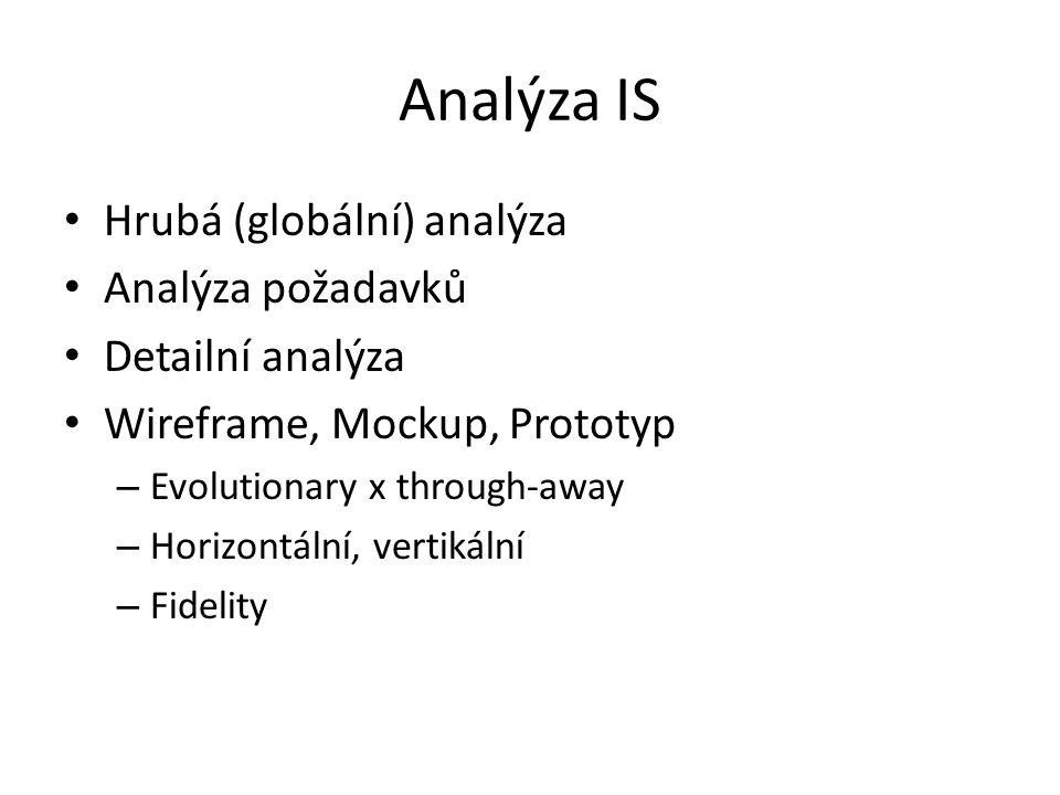 Analýza IS Hrubá (globální) analýza Analýza požadavků Detailní analýza