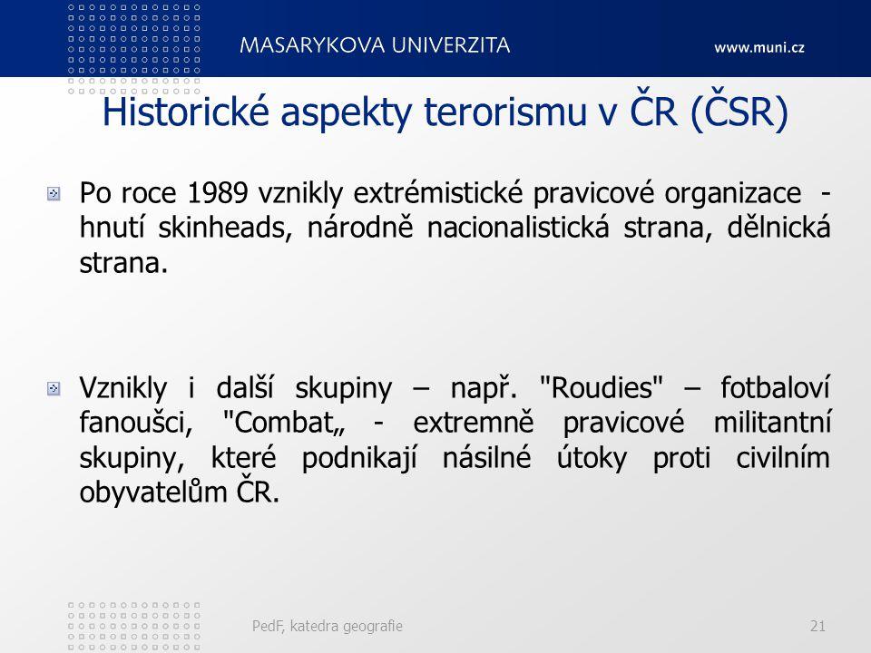 Historické aspekty terorismu v ČR (ČSR)