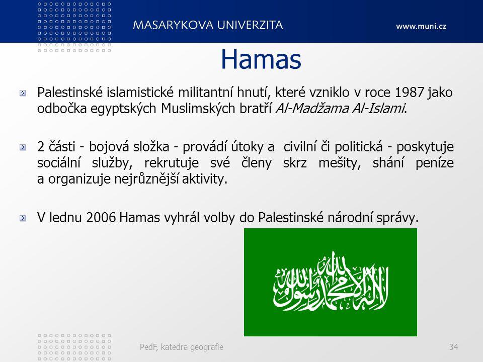 Hamas Palestinské islamistické militantní hnutí, které vzniklo v roce 1987 jako odbočka egyptských Muslimských bratří Al-Madžama Al-Islami.