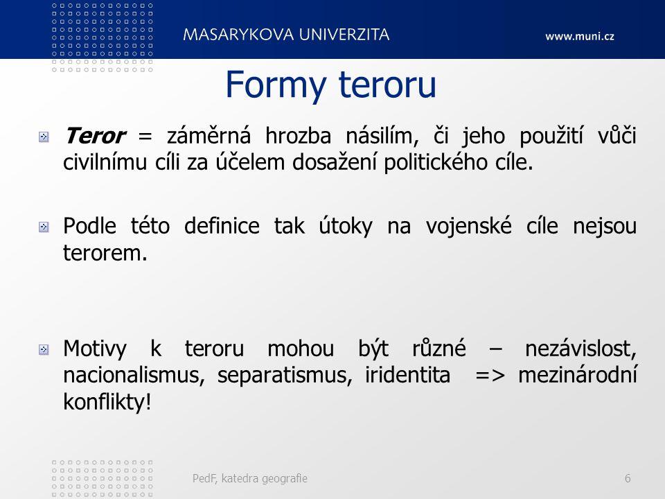 Formy teroru Teror = záměrná hrozba násilím, či jeho použití vůči civilnímu cíli za účelem dosažení politického cíle.