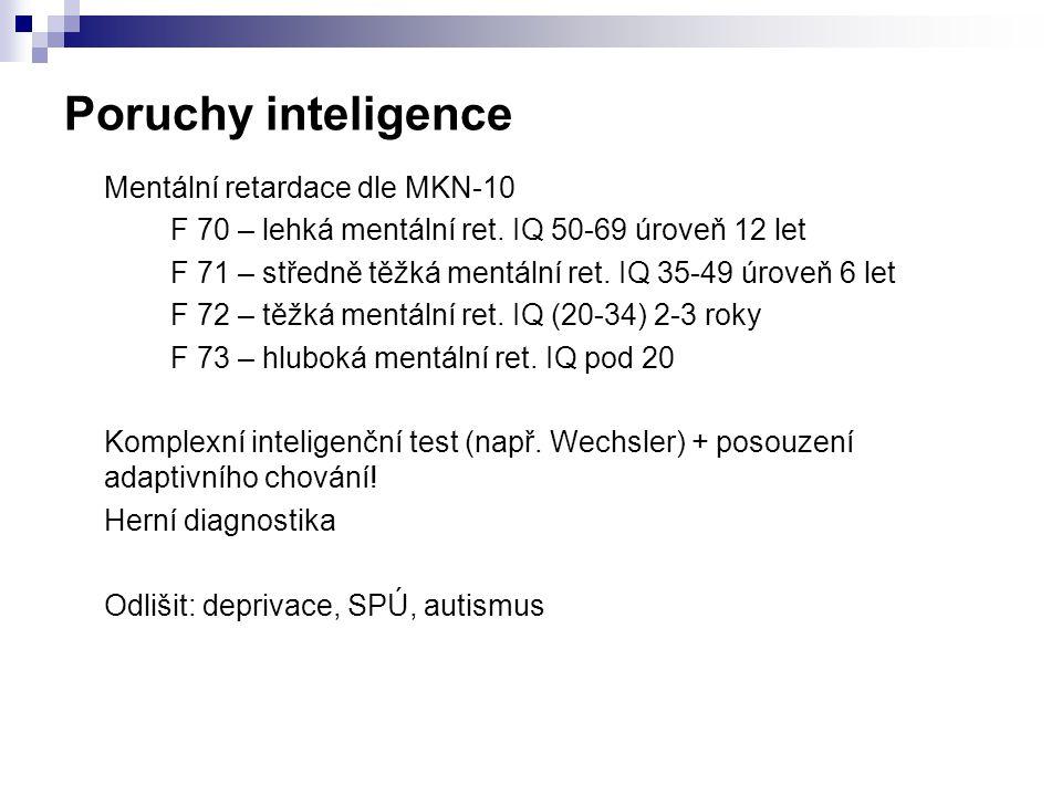 Poruchy inteligence Mentální retardace dle MKN-10