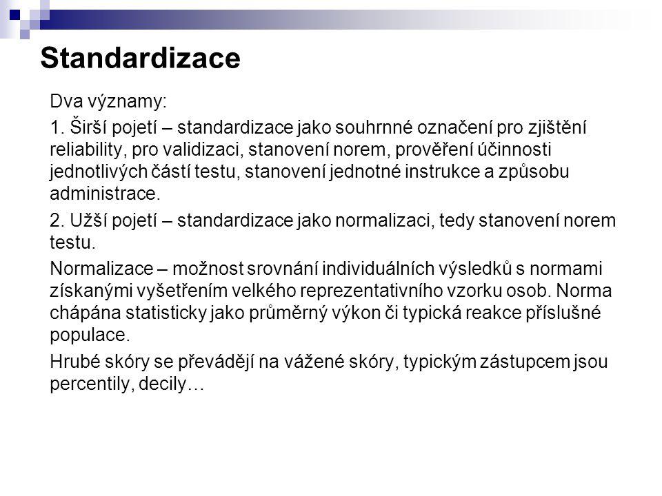 Standardizace Dva významy: