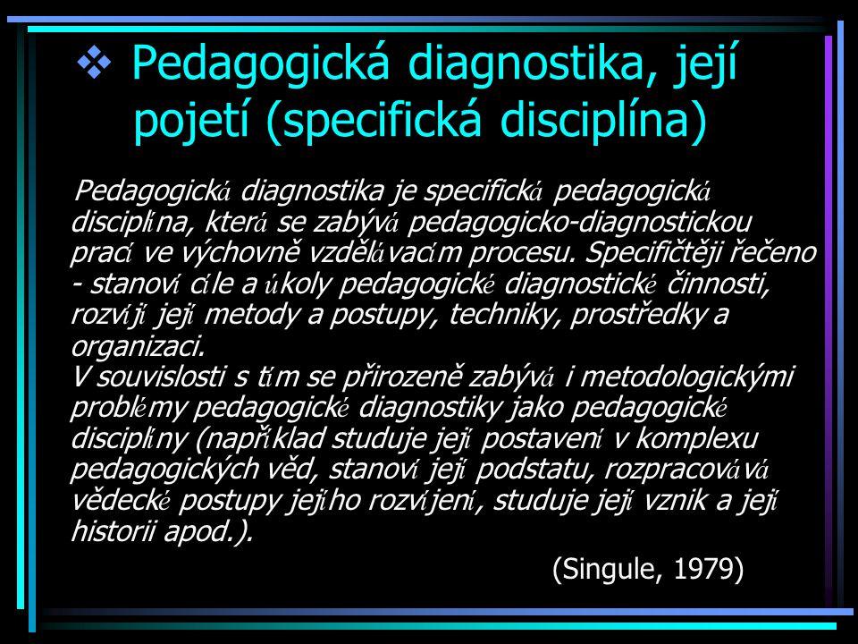 Pedagogická diagnostika, její pojetí (specifická disciplína)