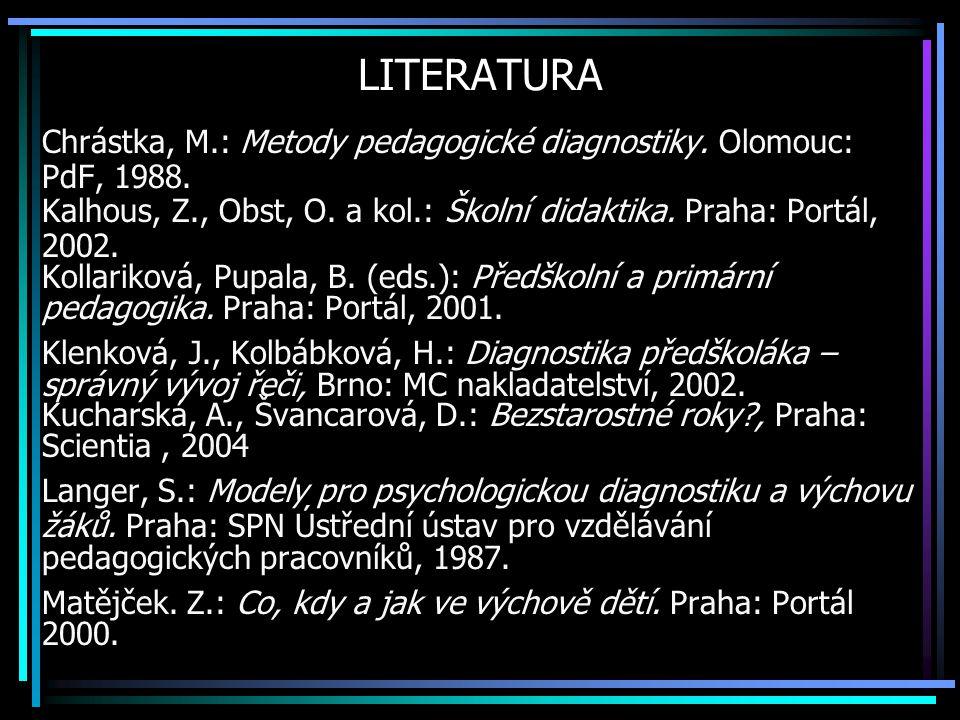 LITERATURA Chrástka, M.: Metody pedagogické diagnostiky. Olomouc: