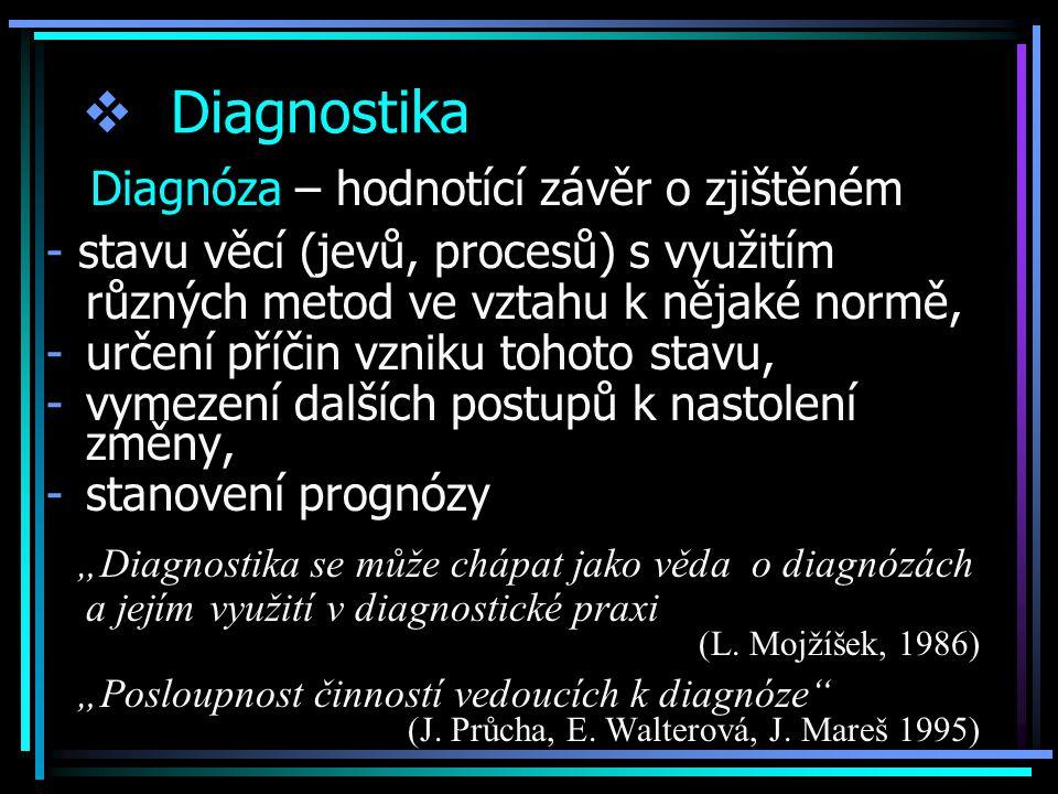 Diagnostika Diagnóza – hodnotící závěr o zjištěném