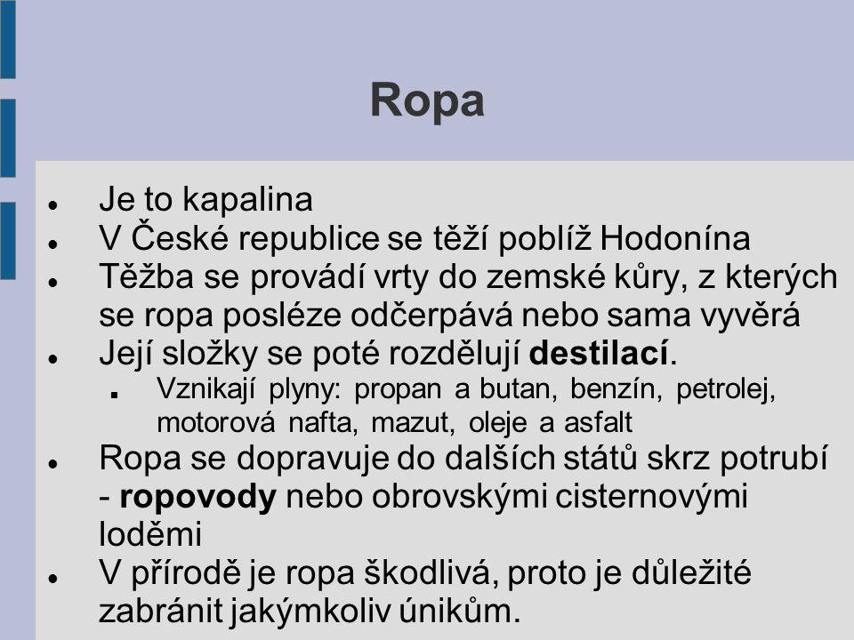 Ropa Je to kapalina V České republice se těží poblíž Hodonína