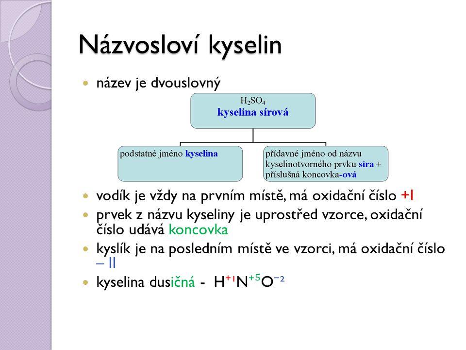 Názvosloví kyselin název je dvouslovný