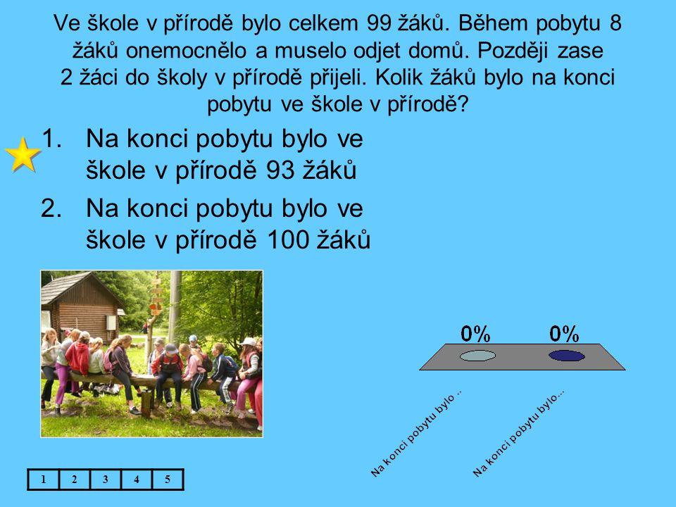 Na konci pobytu bylo ve škole v přírodě 93 žáků