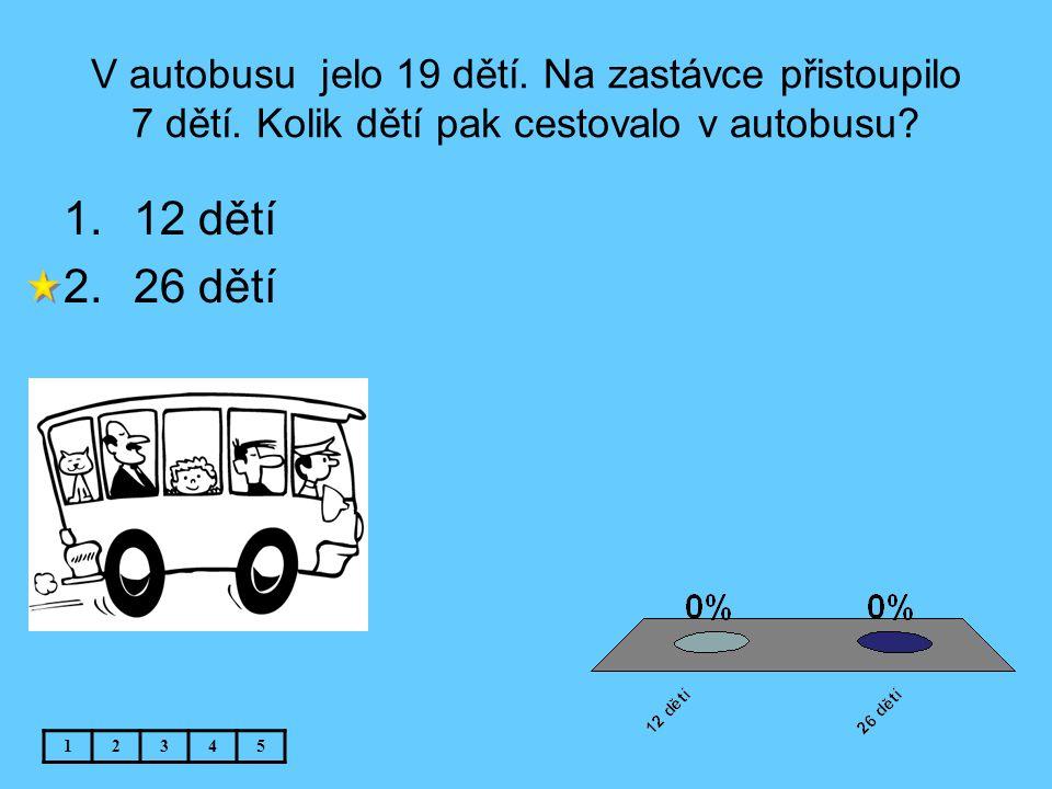 V autobusu jelo 19 dětí. Na zastávce přistoupilo 7 dětí