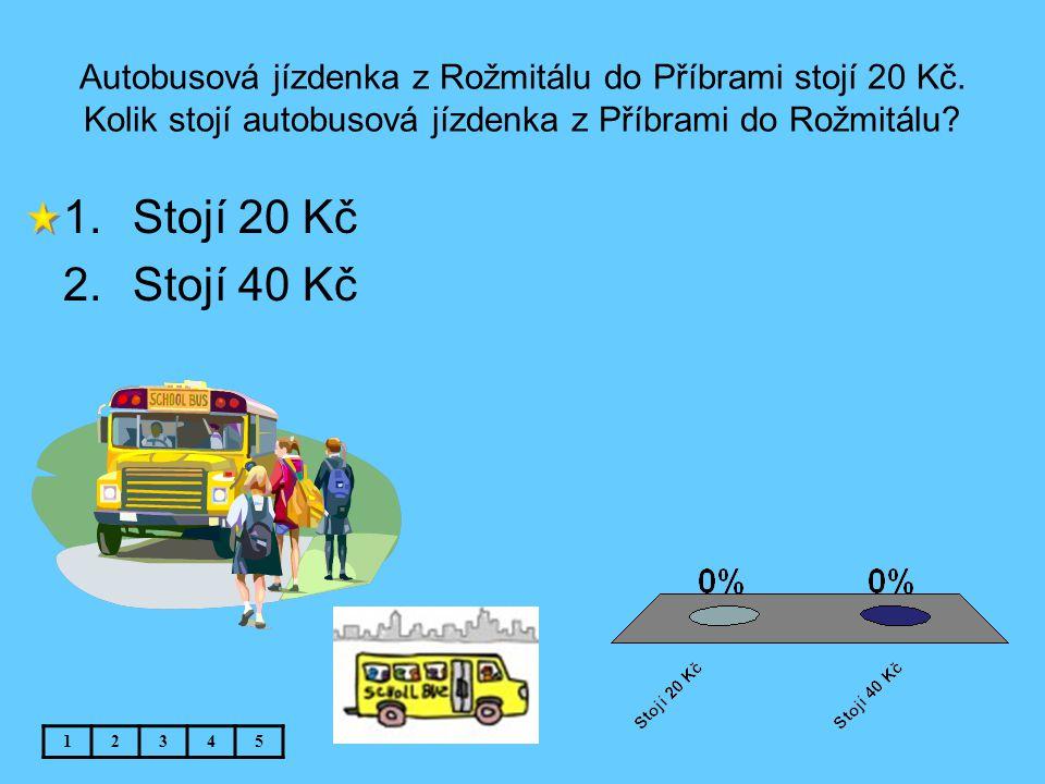 Autobusová jízdenka z Rožmitálu do Příbrami stojí 20 Kč