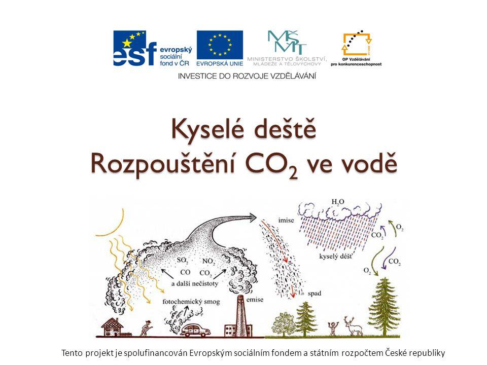 Kyselé deště Rozpouštění CO2 ve vodě