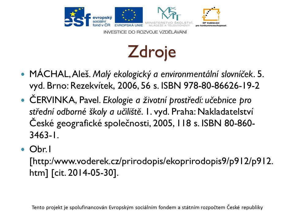 Zdroje MÁCHAL, Aleš. Malý ekologický a environmentální slovníček. 5. vyd. Brno: Rezekvítek, 2006, 56 s. ISBN 978-80-86626-19-2.