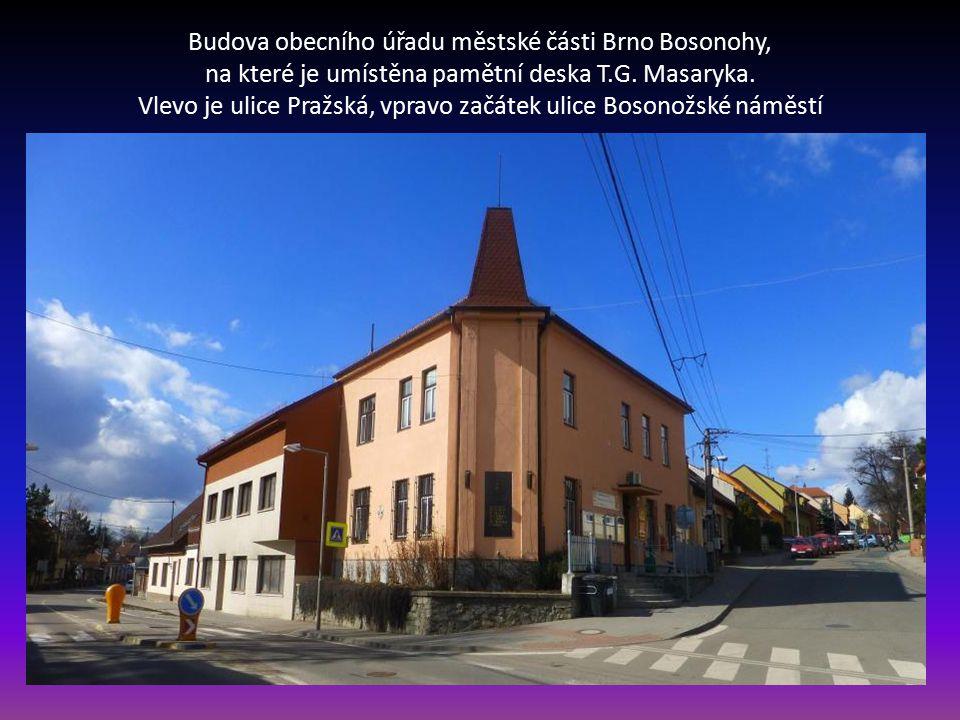 Budova obecního úřadu městské části Brno Bosonohy, na které je umístěna pamětní deska T.G.