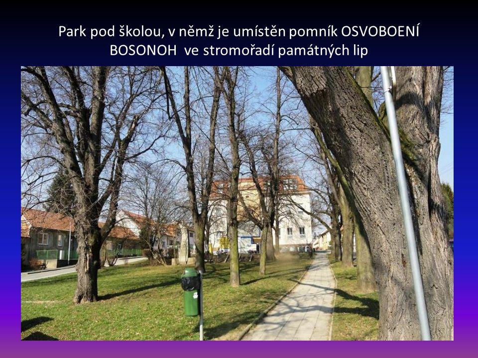 Park pod školou, v němž je umístěn pomník OSVOBOENÍ BOSONOH ve stromořadí památných lip
