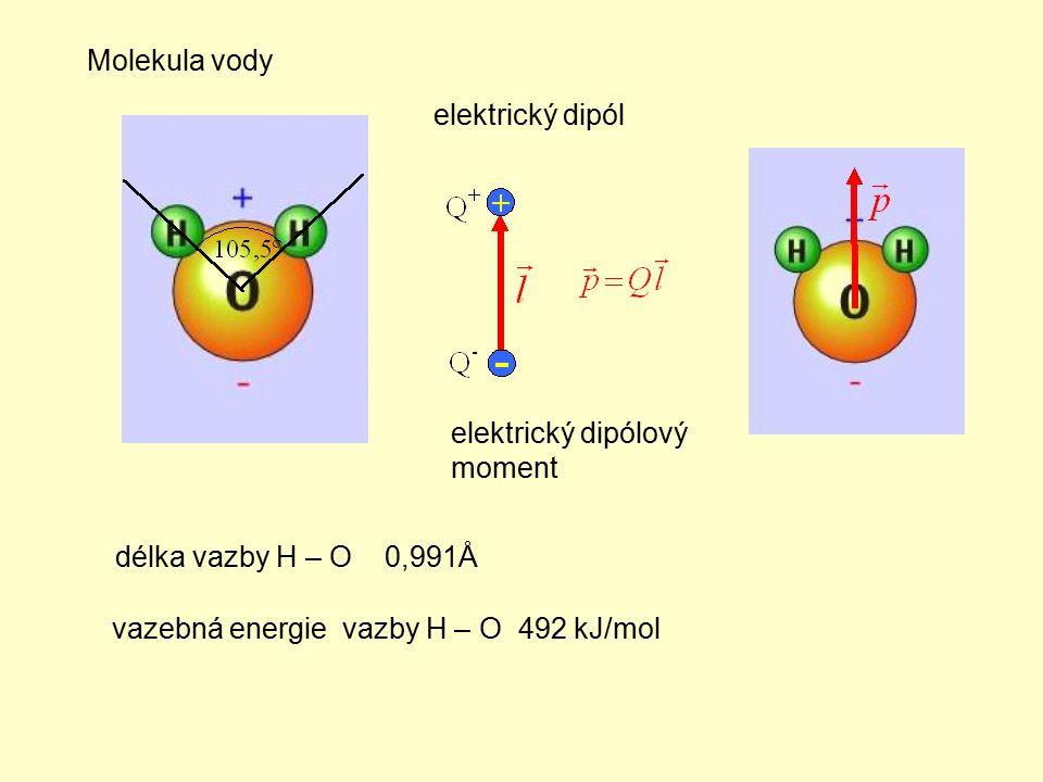 Molekula vody elektrický dipól. elektrický dipólový moment.