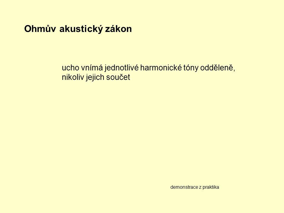 Ohmův akustický zákon ucho vnímá jednotlivé harmonické tóny odděleně, nikoliv jejich součet.