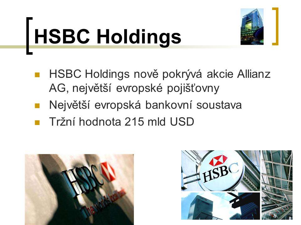 HSBC Holdings HSBC Holdings nově pokrývá akcie Allianz AG, největší evropské pojišťovny. Největší evropská bankovní soustava.