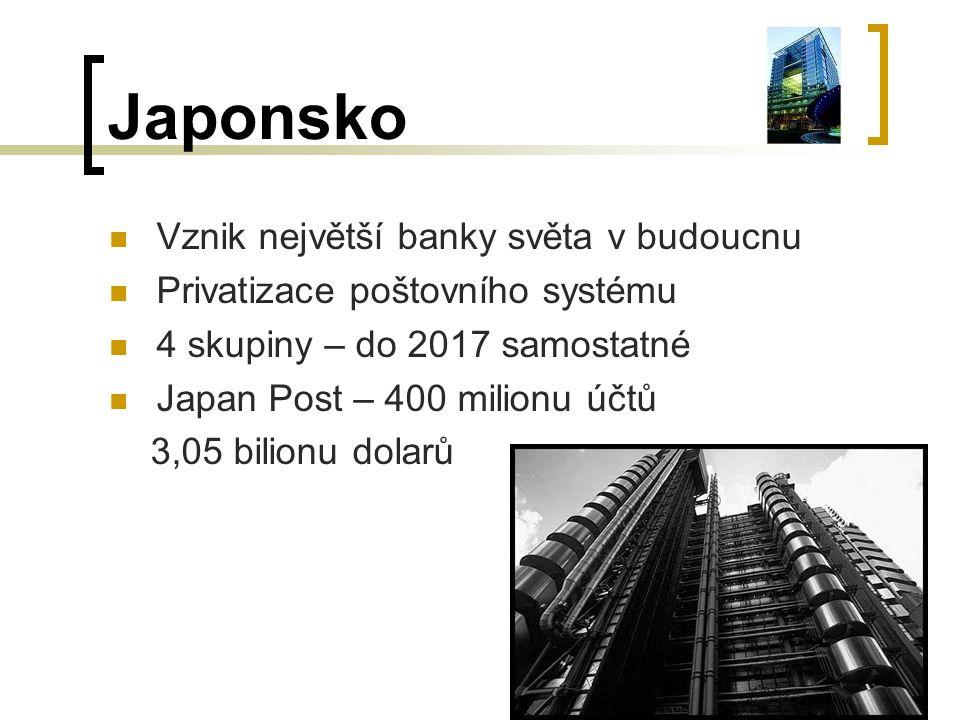 Japonsko Vznik největší banky světa v budoucnu