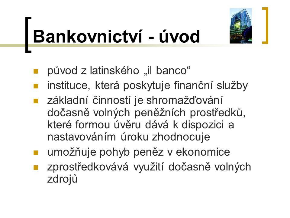 """Bankovnictví - úvod původ z latinského """"il banco"""