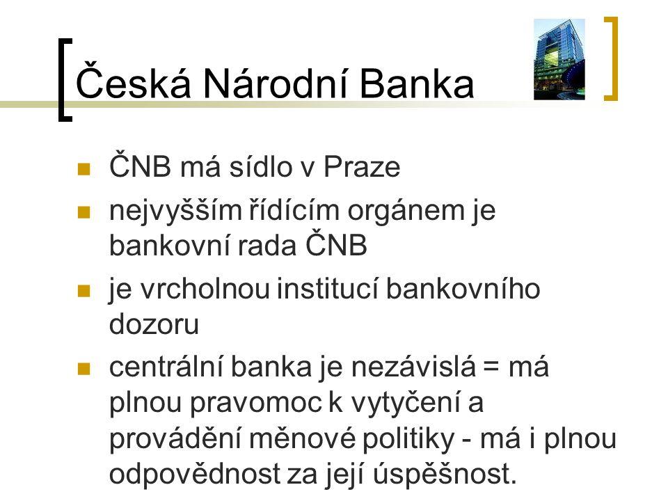 Česká Národní Banka ČNB má sídlo v Praze
