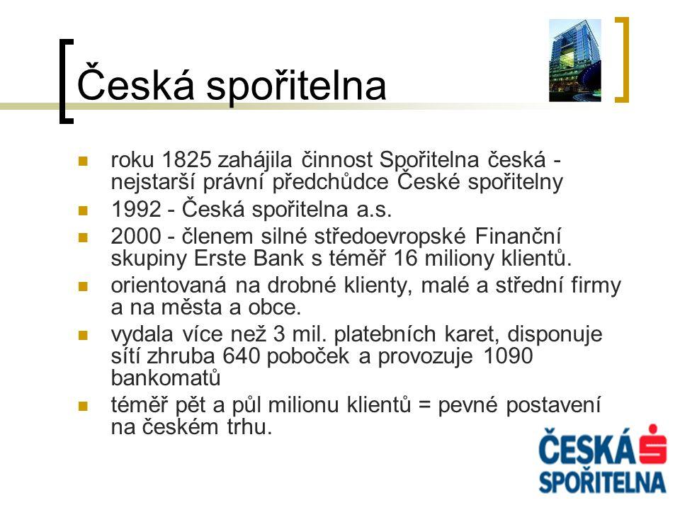 Česká spořitelna roku 1825 zahájila činnost Spořitelna česká - nejstarší právní předchůdce České spořitelny.