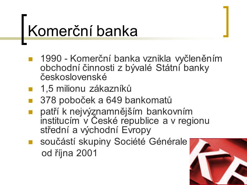 Komerční banka 1990 - Komerční banka vznikla vyčleněním obchodní činnosti z bývalé Státní banky československé.