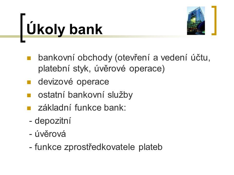 Úkoly bank bankovní obchody (otevření a vedení účtu, platební styk, úvěrové operace) devizové operace.
