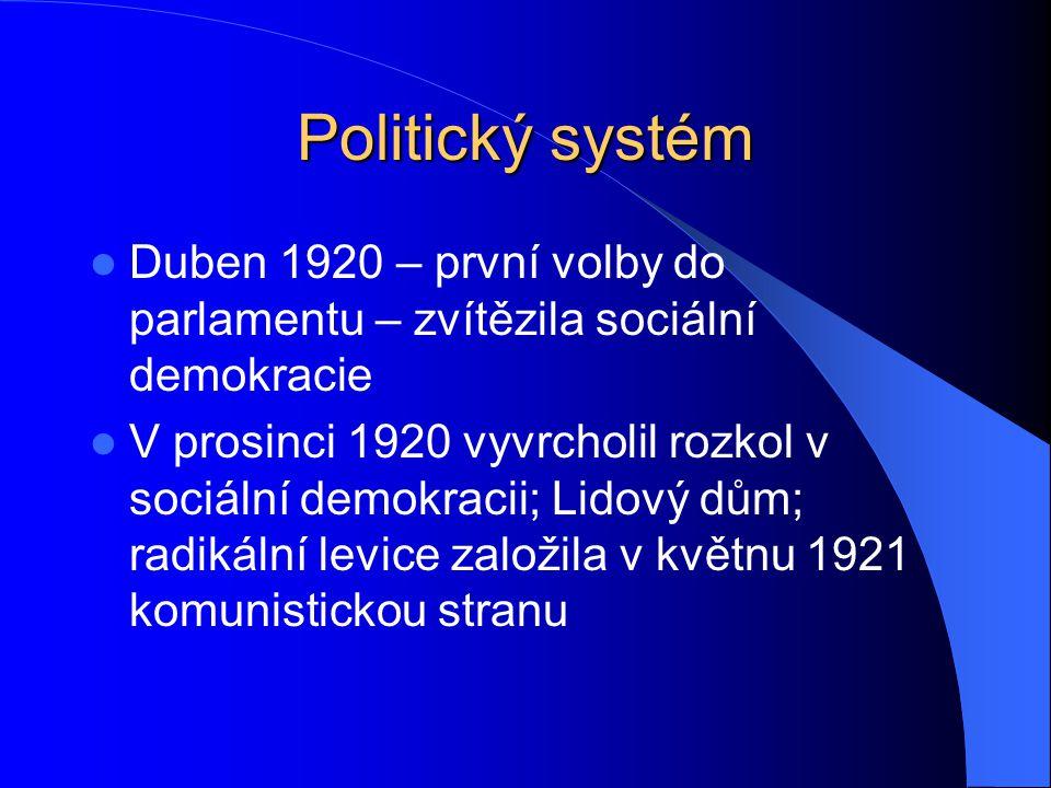 Politický systém Duben 1920 – první volby do parlamentu – zvítězila sociální demokracie.