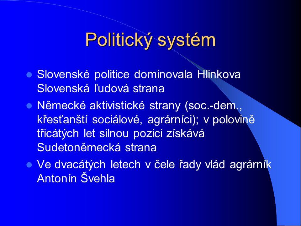 Politický systém Slovenské politice dominovala Hlinkova Slovenská ľudová strana.